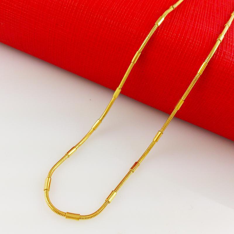 Быстрая бесплатная доставка изысканные свадебные украшения Оптовая алмазная резка 24k золото ожерелье алмазная резка женские ожерелья цепи вес 5,5 г