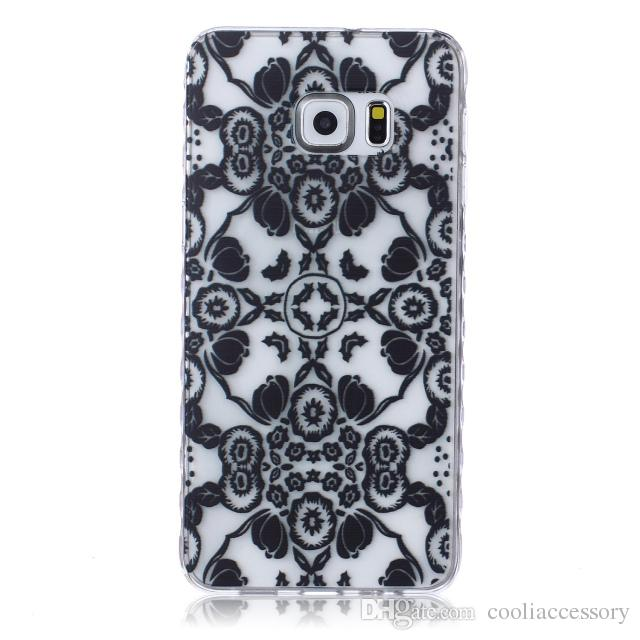White Paisley Henna Flower Soft TPU Gel Cases For Samsung Galaxy S5 S6 Edge Plus J1 ACE J2 J3 Grand Prime G530 Core G360 G850F Cartoon cover