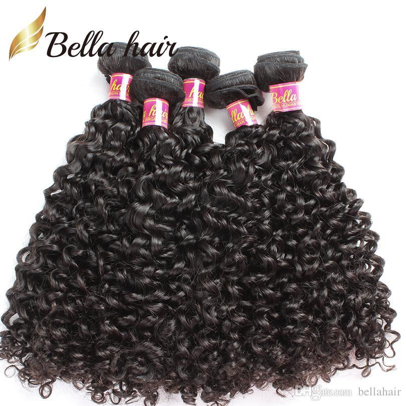 Hårlåsning med buntar Curly Weave Hair Extensions Malaysiska Human Virgin Hair Weaves Closure 4x4 Naturfärg Bellahair Wefts