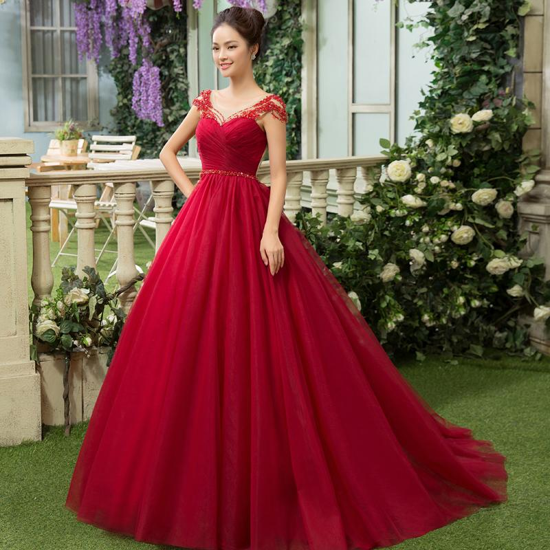 21f4f5c7b4cc 100% Real Luxury Full Beading Wine Red Ruffled Long Medieval Dress ...