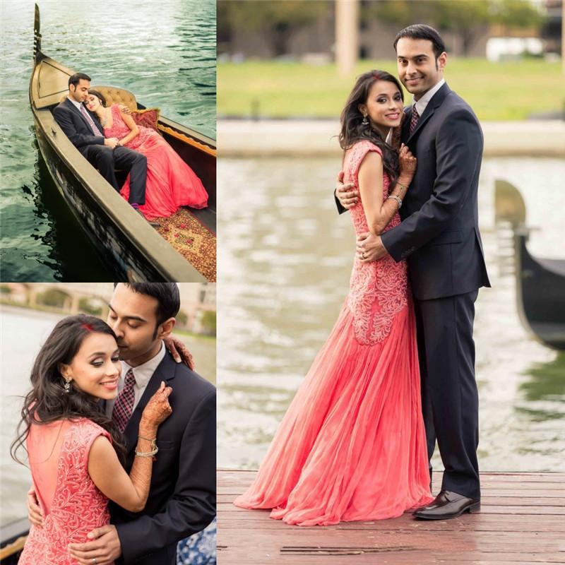 Discount Shinning Sparkles Indian Wedding Dresses V Neck Applique Sheer Back Bridal Gowns Floor Length Custom Made Gown Buy Cheap