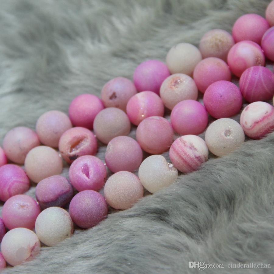 10mm FreeTitanium Pink Druzy Agate Beads Natural Gemstone Crystal Quartz Druzy Agate Necklace Pendant Jewelry Make Connector
