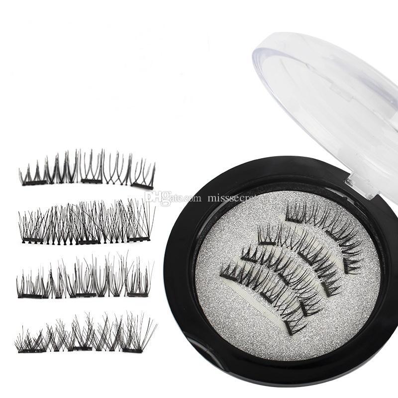 Magnetic Falso Cílios 3D Mink Lashes reutilizável três / dual Ímãs Cílios Extensão 3D pestana Faixa completa extensões Magnética Lash Eye
