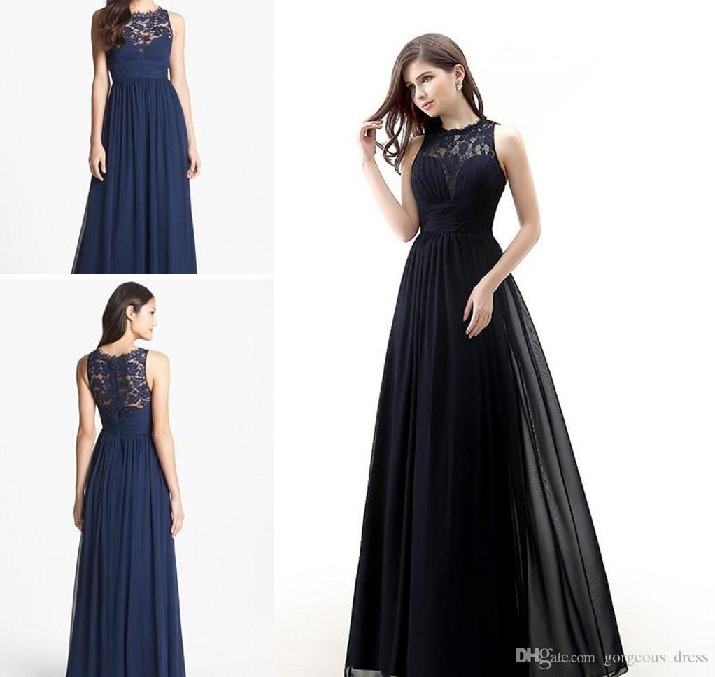 Dark Navy Blue Bridesmaids Dresses Cheap Long Satin Jewel