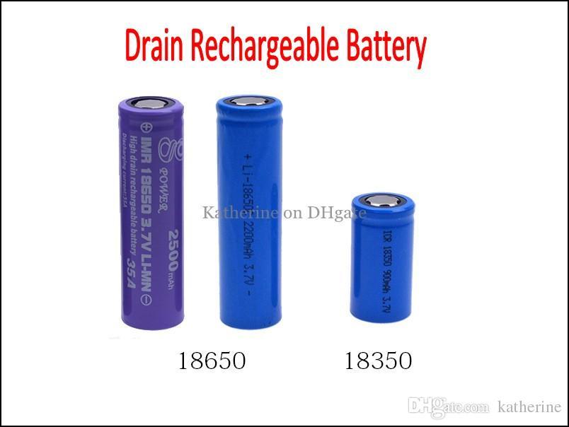 Стеките перезаряжаемые батарею 18350 18650 18650 900mah 2200mah 2500mah 3.7 V Li-MN высокого разряда тока 35A для E сигареты Немезида Король Mod