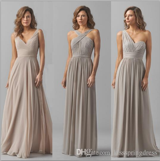 2017 Nude Light Grey Bridesmaid Dress In 3 Styles A Line V Neckline One Shoulder Cross Front Halter Sash Ruched Chiffon Party Gowns Purple Red