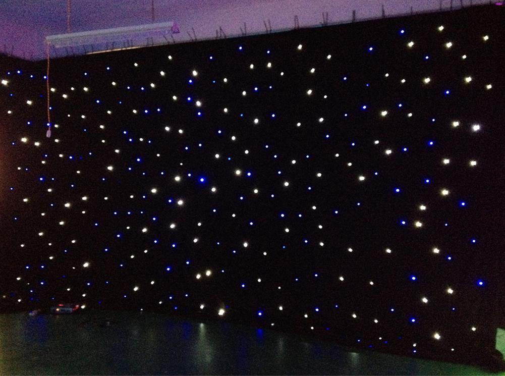 Led Light Effects Large Star Curtain 4m6m Colth Stage Drapes Blue White Color With Lighting Controller Vision Water Effect