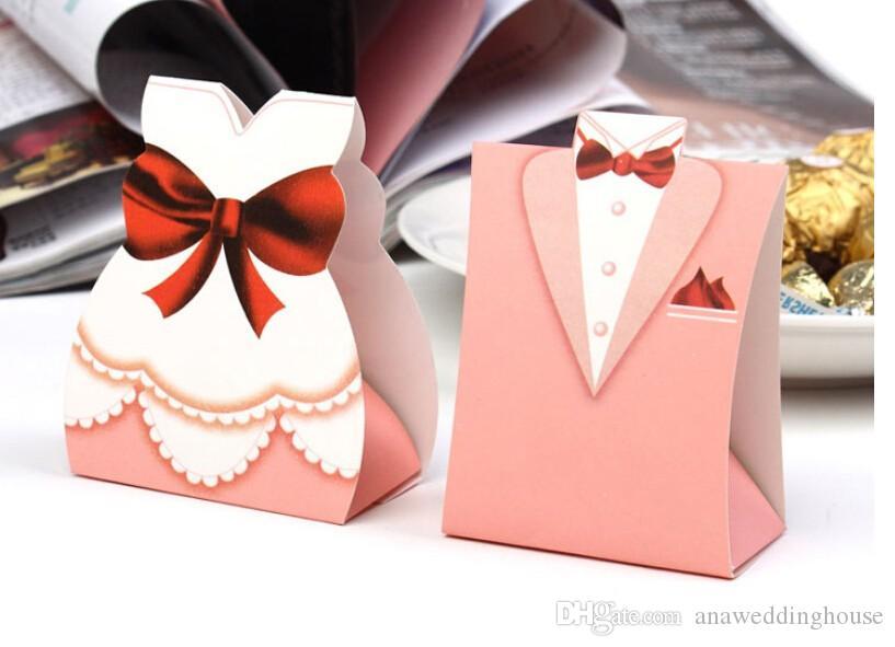 2018 Ucuz 100 Parça başına Düğün Şeker Kutuları Damat Gelin Papery Özel Düğün Düğün Gust Hediyeler Için Şekeri
