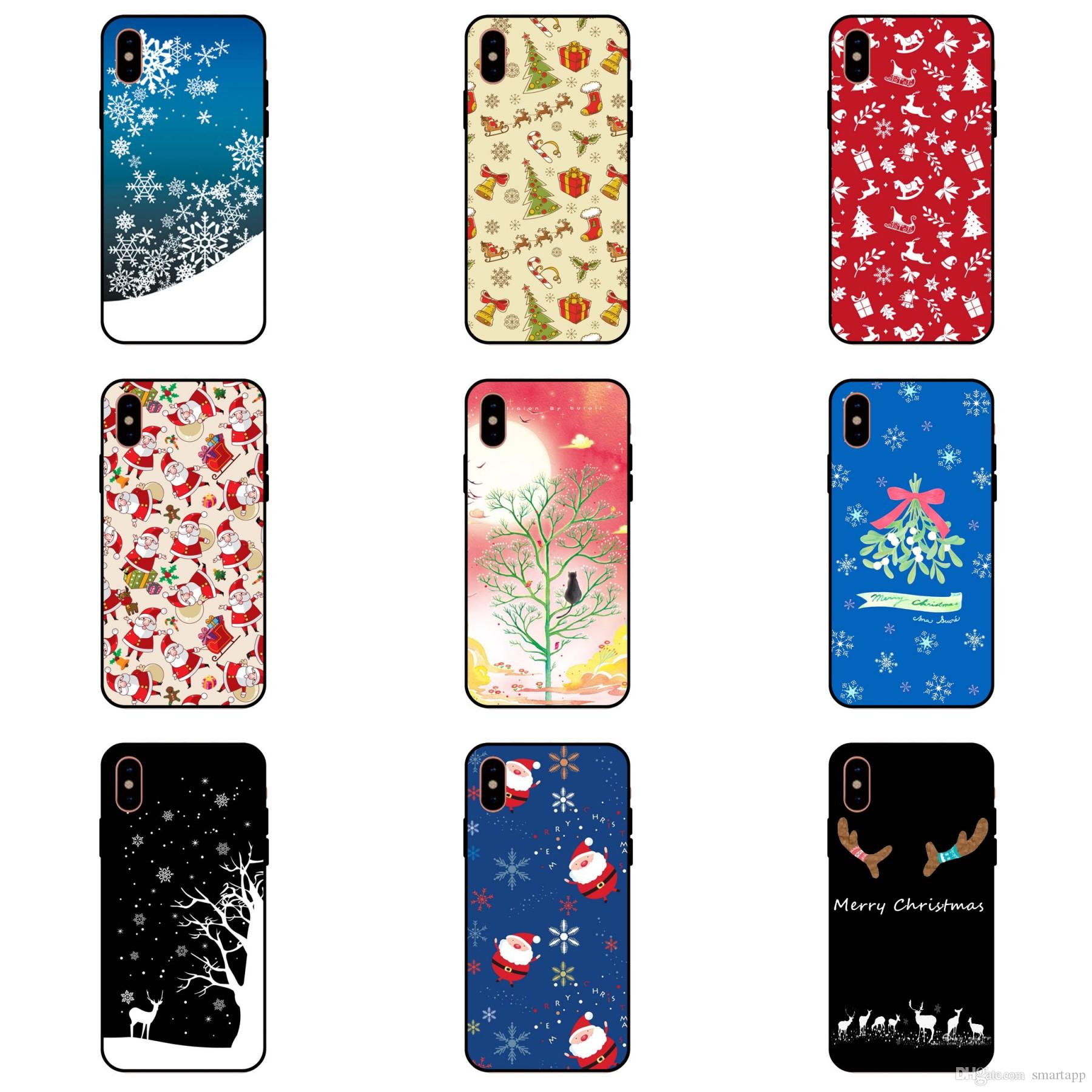 2018 For Apple Iphone X Iphone 8 7 Plus Silicone Tpu Protective Cases Merry Christmas Gift Snow Elk All Inclusive Anti Drop Cell Phone Cute Phone Cases