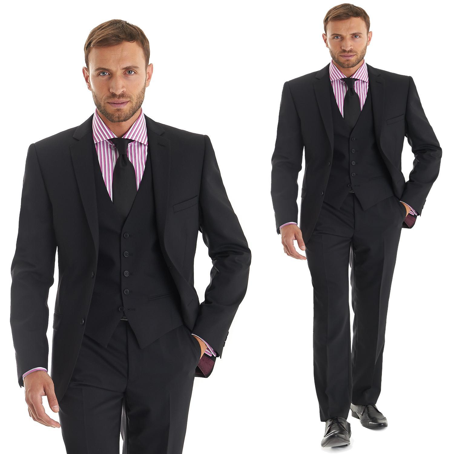 Custom Made Slim Fit Suits Black Tux Notch Lapel Three Pieces Sexy ...