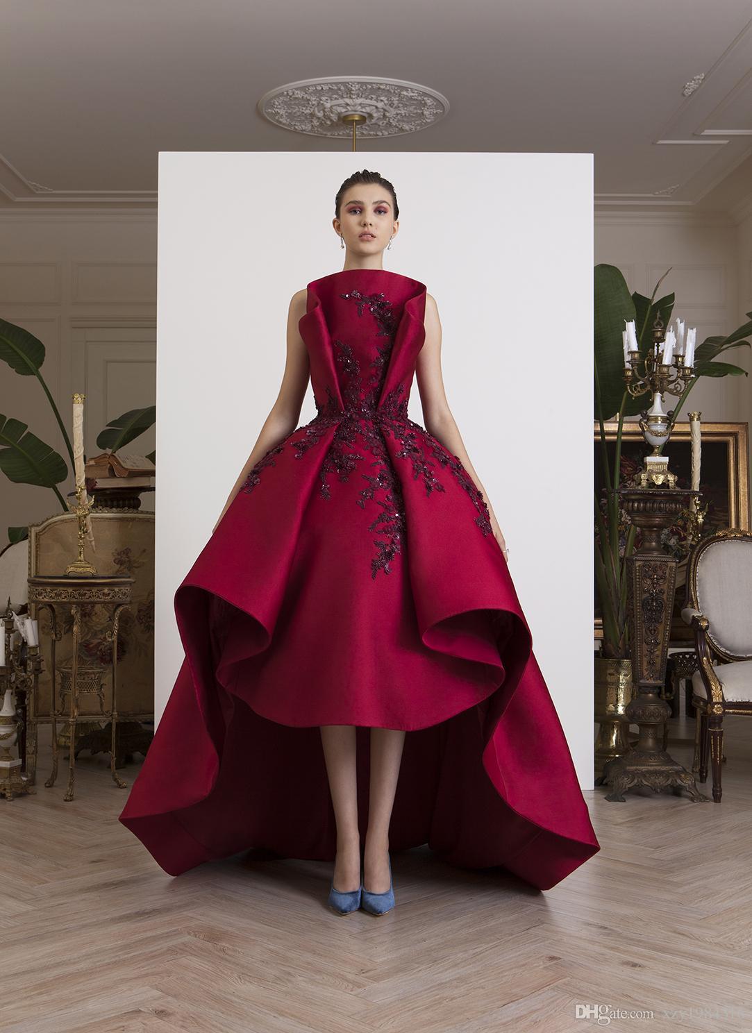 Profundo de la moda de los vestidos de la chispa roja del baile de cuentas apliques mangas Hi-Lo de la alfombra roja Glamorous vestidos de noche del satén de las mujeres del desgaste formal