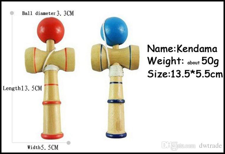 13см размер kendama бал японской традиционной древесины игры игрушка образование подарок красный синий 2 цвета новинка игрушки подарок J071503# компания DHL бесплатная доставка