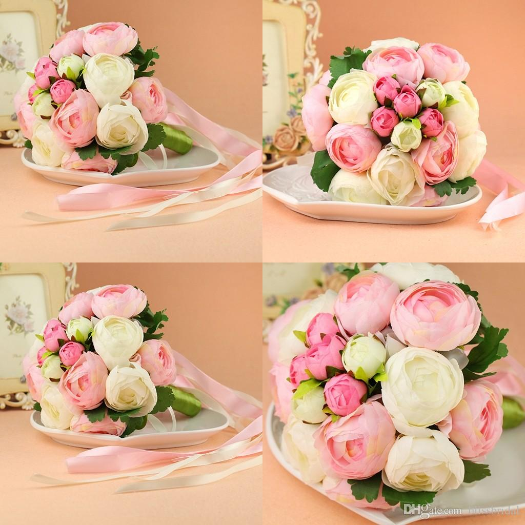 Cheap Bride Bouquets Hand Made Flowers Big And Small With Straps
