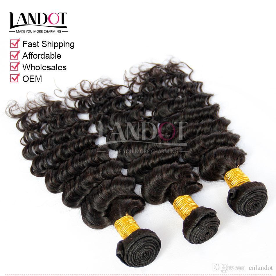 Индийские волосы девственницы глубокая волна с закрытием 8а необработанные вьющиеся человеческие волосы ткет 3 пучки и 1шт топ кружева закрытия природных черный утки