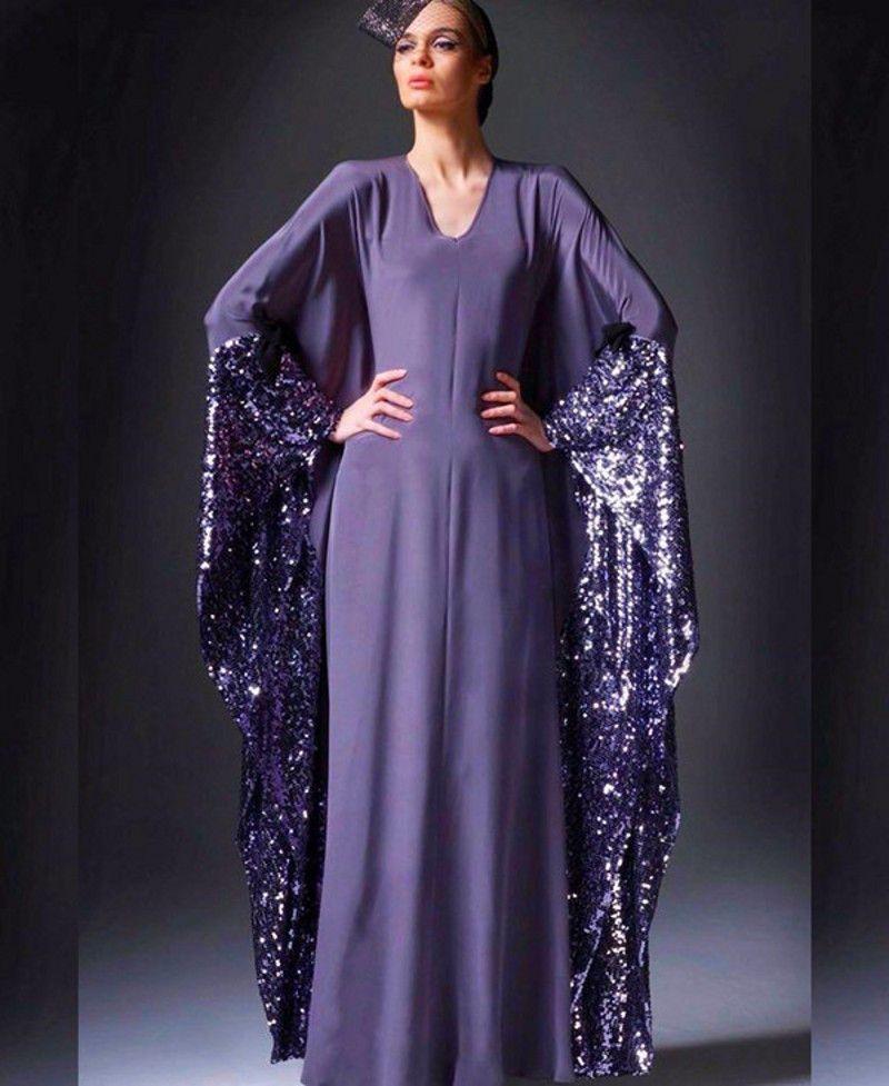 Hot Sale Purple V-Neck Floor-Length Saudi Arabia Evening Dresses A-Line Dubai Kaftan Prom Gowns Chiffon Sequined Party Dress Vestidos d027