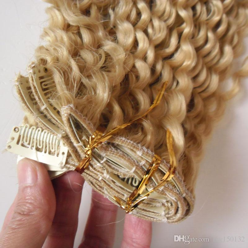 # 613 Bleach blonde Afro Kinky ricci clip in capelli 100g 7 pz / lotto 4A / 4b / 4cafrican clip americana in estensioni dei capelli umani
