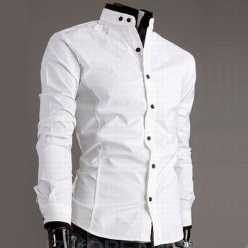 Casual Mens White Slim Fit Shirt Fashion Mandarin Collar Shirts ...