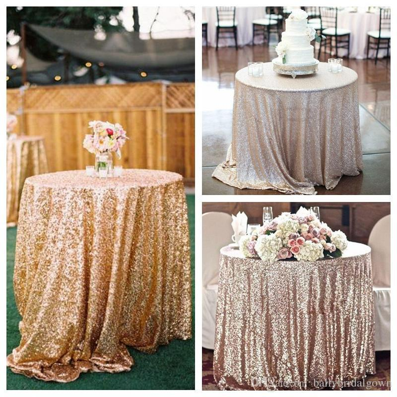 Custom Gold Sequined Round Table Cloth Sparkly Champagne Tablecloth Elegant  Wedding Sequin Table Linens 2015 Cheap Diameter 150 Cm Hot Sale Overstock  ...