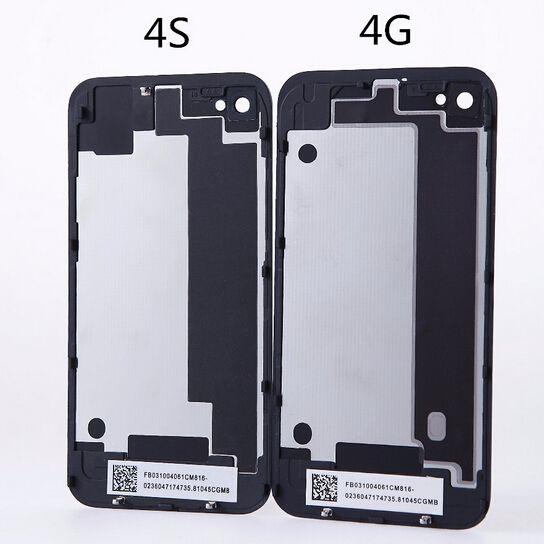 d5b6fdee044 Protectores De Celular Para Iphone 4 4S Iphone4 Iphone4S Carcasa De La  Contraportada De Cristal Cubierta De La Puerta De La Batería Con Difusor  Flash Negro ...