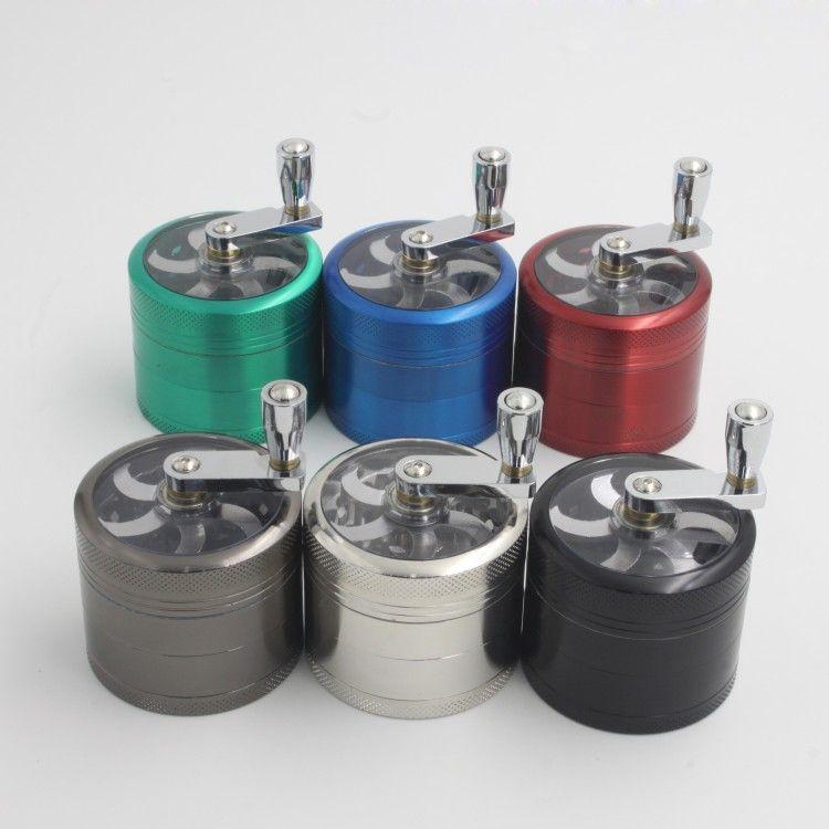 amoladora de tabaco 56mm 4 capas Zicn aleación manivela de tabaco molinos de metal amoladoras de hierbas molinillos de tabaco sin DHL