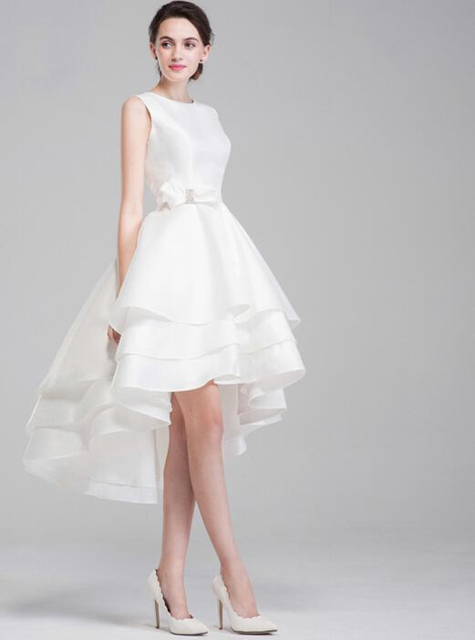 Discount Short Taffeta Beach Wedding Dress Long Back Short Front