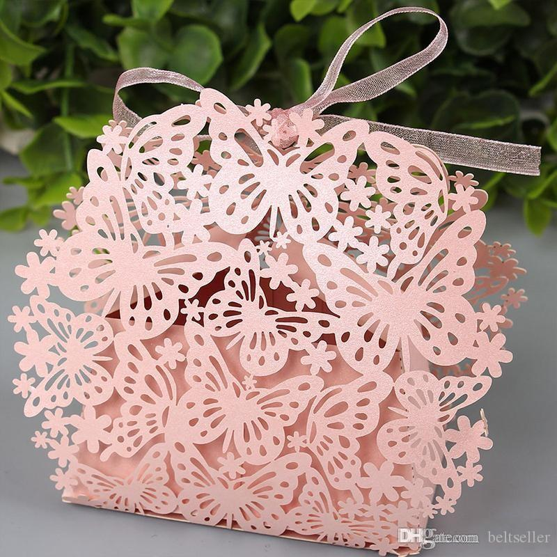 Butterfly Laser Cut Candy Favor holder Chocolate gifts Boxes With Organza Ribbon for Wedding Party baby shower Decorations