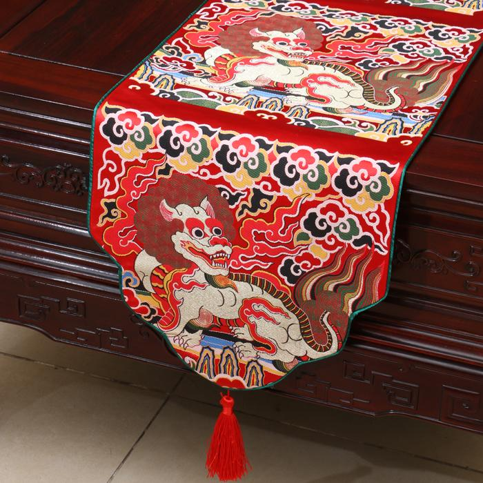 Thicken Ethnic Kirin Table Runner Chinese style High-density Silk Brocade Long Table Cloth Dining Table Pads Party Home Decoration 4 size