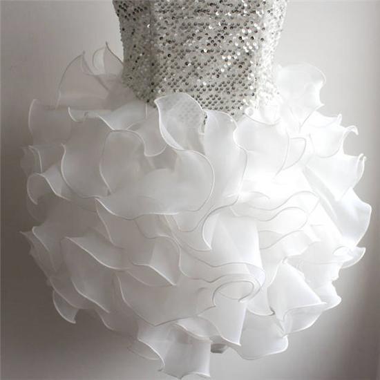 فستان العروسة الكشكشة فستان العروسة التخرج أزياء المرأة الترتر والقلب كشكش اللباس حار إمرأة مثير صافي غزل و تنورة فقاعة ضئيلة