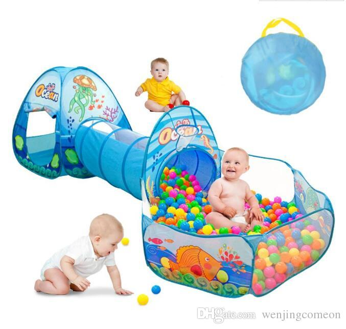 Kids Play Tent Tunnel Ball Pit with Basketball Hoop Carton Ocean Animals 3 in Pop-up Easy Open Fold Cubby Tube Teepee