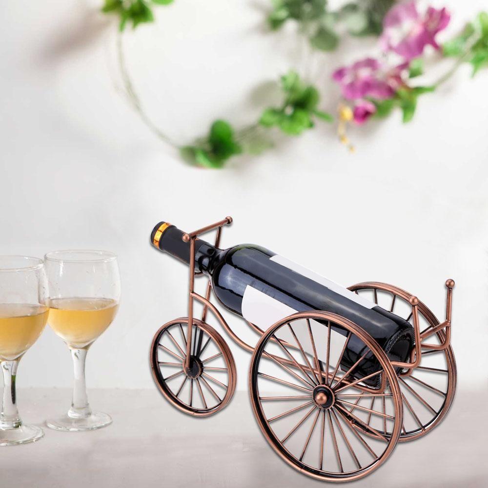 Bicycle Shaped Vintage Bronze Tabletop Wine Bottle Holder Metal Red