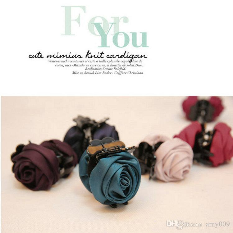 retail Fashion Girls Women Korea style hairpin cotton Rose Flower Bow Hair Claw Jaw Clip Clamp Barrette Big Flower Hair Accessories