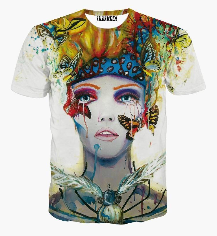 a4b0ae0132418 Compre Novo Estilo Harajuku Art Body Painting Dos Homens Das Mulheres  Impresso 3d T Shirt Nova Harajuku Moda T Shirt Tops Tees De Linmei0006