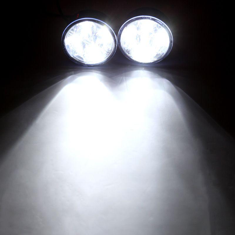 2 шт. /лот универсальный автомобиль Автомобиль дневного света лампы DRL автомобилей противотуманные фары светодиодные день вождения лампы белый 4 LED круглый K803