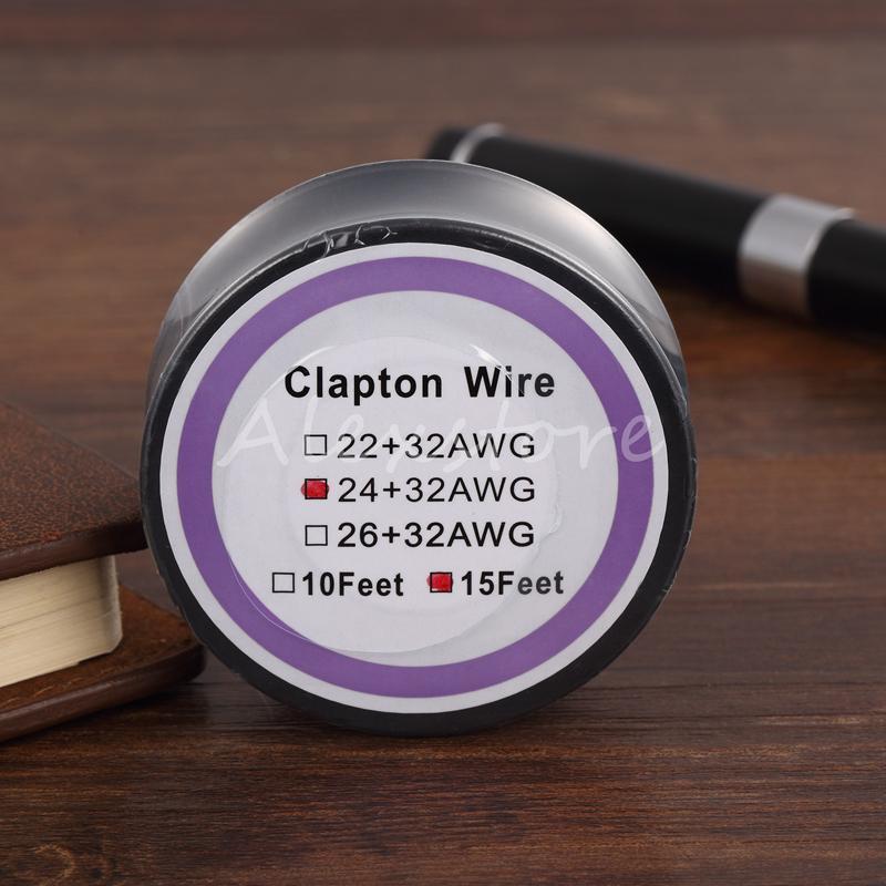 최신 Clapton 와이어 저항 전선 15 피트 22 + 32 24 + 32 26 + 32 Agg 게이지 기화기 Rda Vape 단일 패키지 코일 스풀