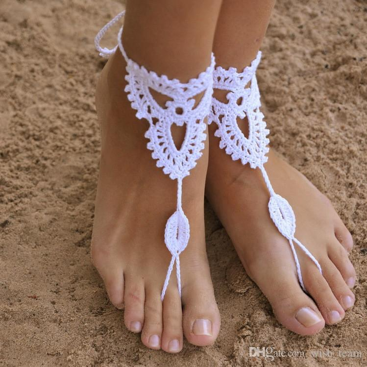 b4d2d95831909 2019 Beach Wedding Pure Hand Knitted Crochet Barefoot Sandals Wedding  Anklets Beach Anklets Shoes Ornament Ankle Bracelet W700 From Wish team