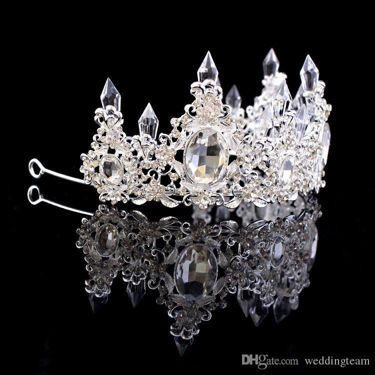 Luxus Kristalle Barock Hochzeit Kronen mit Ohrringen Silber Perlen Bridal Tiaras Strass Kopfstücke Günstige Haarschmuck Pageant Crown