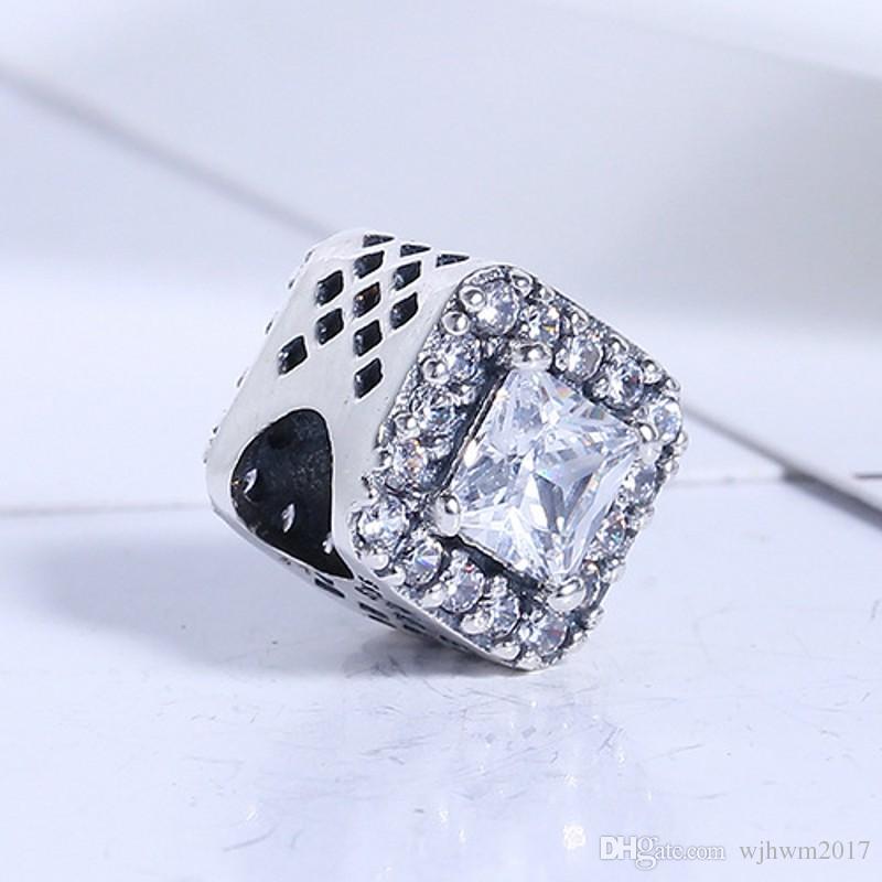 Neue Perlen für Schmuckherstellung authentisch 925 sterlingsilber geometrische strahlung klare kristall charme schmuck passende frauen geschenk diy armbänder