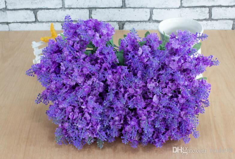 Лаванда куст букет моделирование шелк искусственный цветок сирень фиолетовый белый свадьба / Главная G1223