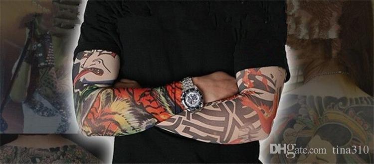 Neue Mutylti Sle 100% Polyester elastisch Gefälschte temporäre Tattoo Ärmel Designs Körper Arm Strümpfe Tattoo für coole Männer Frauen IC895