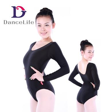 17b1c392d Adult Long Sleeve Ballet Dance Leotards with Scoop Neck And ...