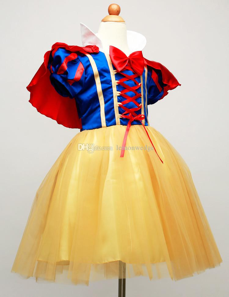 2017 2016 Princess Snow White Dress With Red Cape And Bow Girls ...