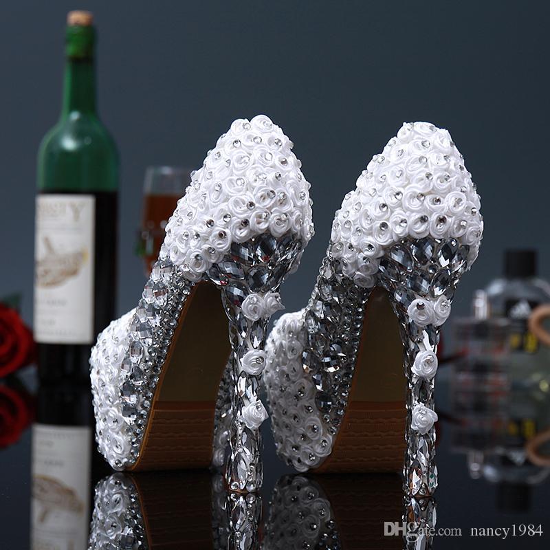 Белый и красный цветок высокие каблуки свадебное свадебное платье обувь Кристалл дамы партии выпускные вечера женщина красивая круглый носок платье обувь