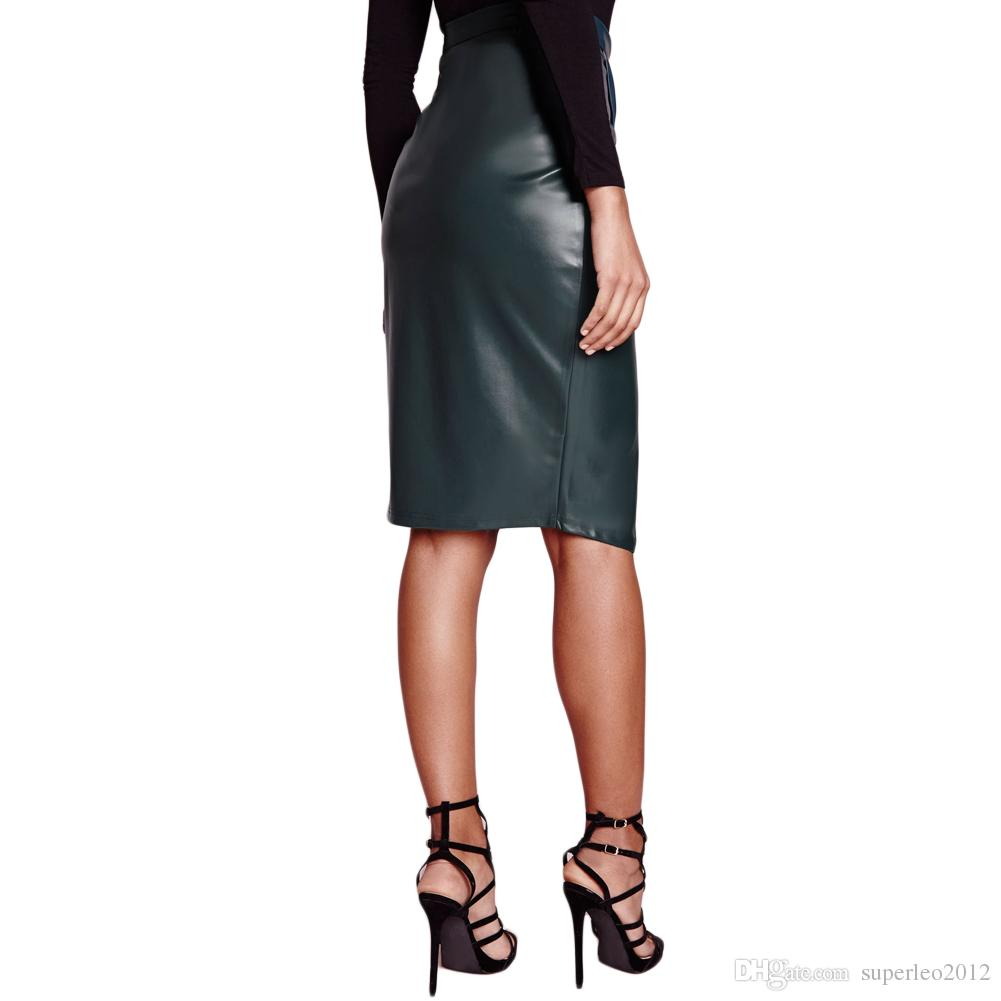 Искусственная кожа женщины юбка Wrap передняя Высокая Талия флис подкладка Midi Bodycon бандаж Сексуальная клуб юбка розовый / бордовый / темно-зеленый Vestido