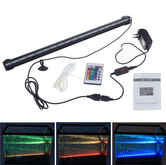 Пульт дистанционного RGB Air Bubble LED Аквариумный светильник Fish Tank Коралловая лампа Трубка IP68 6W 18LEDs 46см Светодиодный светильник Погружной вниз подводный светодиодный свет