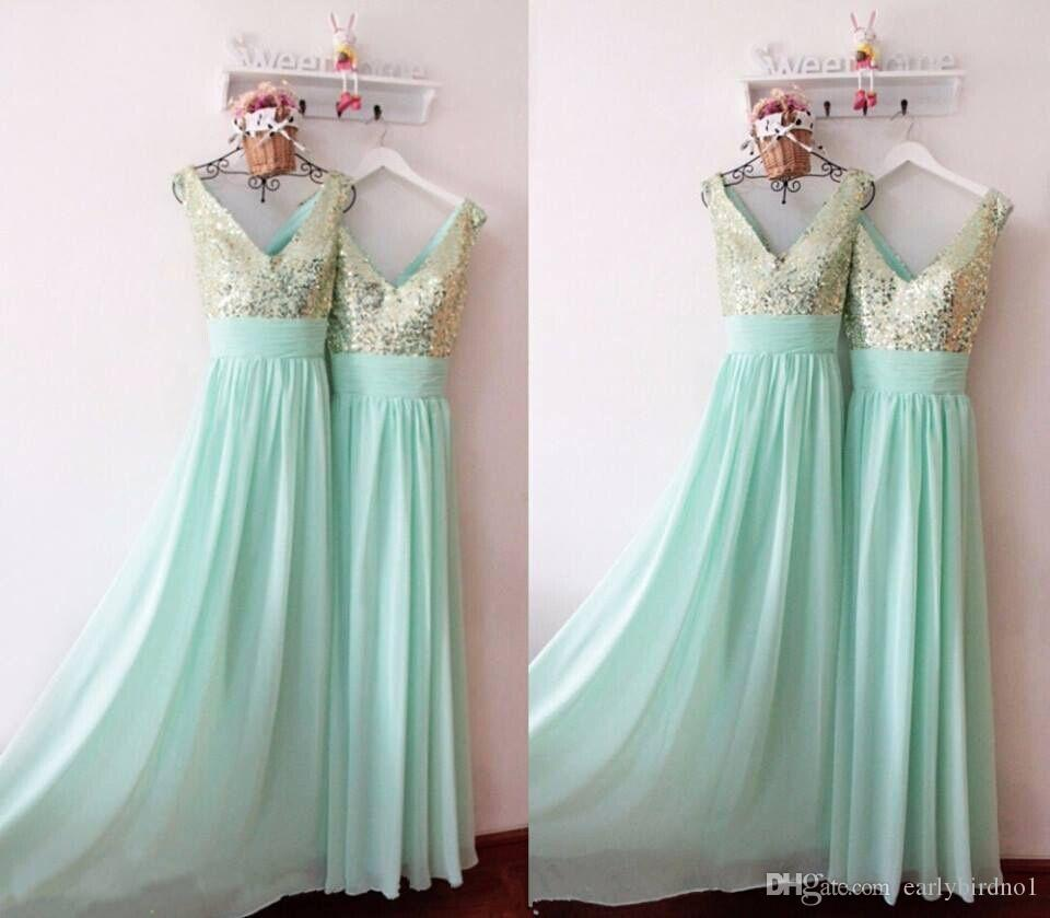 Mint green cheap long bridesmaid dresses custom made 2016 spring mint green cheap long bridesmaid dresses custom made 2016 spring maid of honor gowns a ling v neck with shiny sequins party dresses bridesmaid gown ombrellifo Gallery