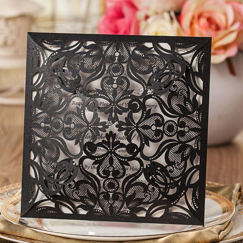 Laser Cut Wedding Invitations White Paper Black Wedding Invitation Card  Flowers Hollow Wedding Cards CW519_BL
