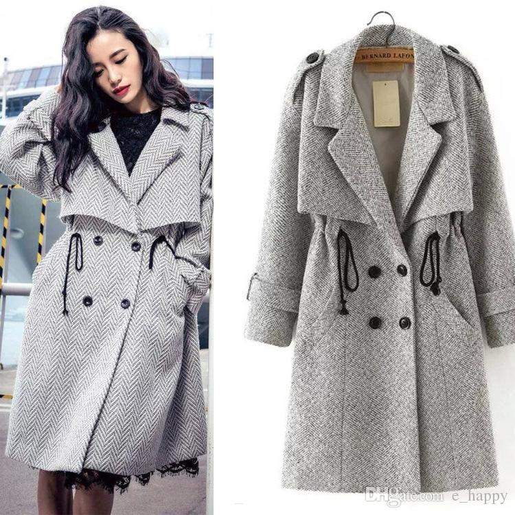 2017 Fashion Womens Tweed Wool Coat Double Breasted Drawstring ...