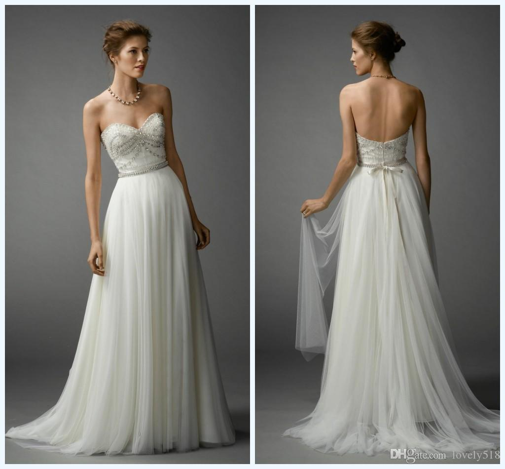 Discount 2015 Bohemian Wedding Dresses Beaded Bodice Sweetheart