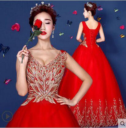 Discount 2015 Bridesmaid Dresses Long Floor Fashion Phoenix Red Gold ...