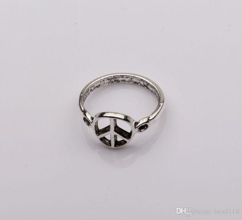 Ring, Antik Silber Friedenszeichen Muster Zink-Basis-Legierung, 10mm breit, Durchmesser 21mm, Verkauf pro Stück von 10 Stück mm6